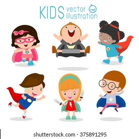 Superhero Children's, Superhero Kids,Kids With Superhero Costumes set, kids in Superhero costume characters isolated on white background, Cute little Superhero, Children's collection