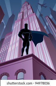 Superhero in City: Superhero watching over the city. No transparency used. Basic (linear) gradients. A4 proportions.