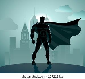 Superhero in City: Superhero watching over the city. Standing over industrial background.
