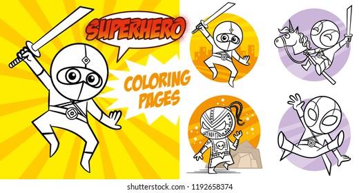 Superhero Coloring Book. Comic character vector