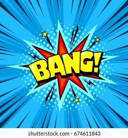 Superhero comic book speech bubble, loud explosion blast sound effect