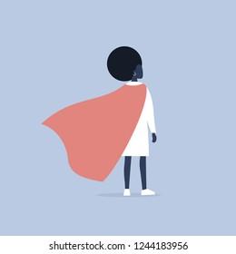 Superhero conceptual illustration. Young  black female character wearing a superhero cape / flat editable vector illustration, clip art