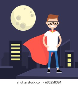 Superhero conceptual illustration. Young character wearing superhero cape / flat editable vector illustration, clip art