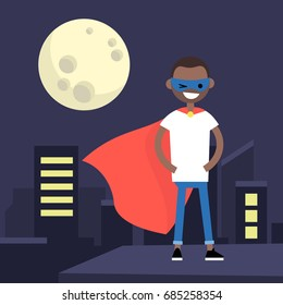 Superhero conceptual illustration. Young character wearing superhero cape and mask / flat editable vector illustration, clip art
