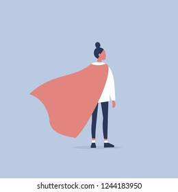 Superhero conceptual illustration. Young  female character wearing a superhero cape / flat editable vector illustration, clip art