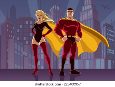 Superhero Couple 2: Male and female superheroes, posing in front of cityscape. No transparency used. Basic (linear) gradients used for the background. A4 proportions.