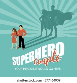 Superhero couple burst background EPS 10 vector