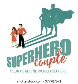 Superhero couple design template EPS 10 vector