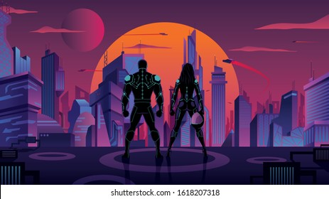Superhero couple or futuristic soldier or police couple watching over futuristic city.