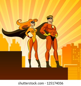 Superhero Couple: Male and female superheroes. Vector illustration isolated on a white background