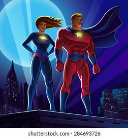 Superhero Couple. Male and female superheroes. Vector illustration