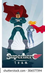Superhero Couple: Male and female superheroes on a skyscraper roof with sunlight city background
