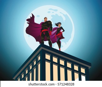 Superhero Couple. Male and female superheroes. Cloudy sky. Vector illustration