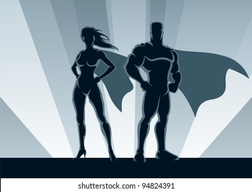 Superhero Couple: Male and female superheroes, posing in front of a light. No transparency used. Basic (linear) gradients used for the background. A4 proportions.