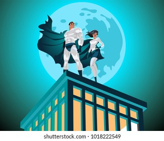 Superhero Couple. Superman and superwoman. Male and female superheroes. Cloudy sky. Vector illustration