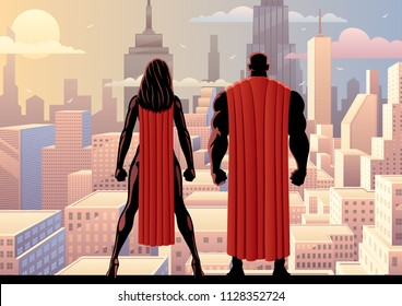 Superhero couple watching over the city during the day.