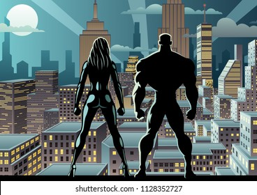 Superhero couple watching over the city at night.