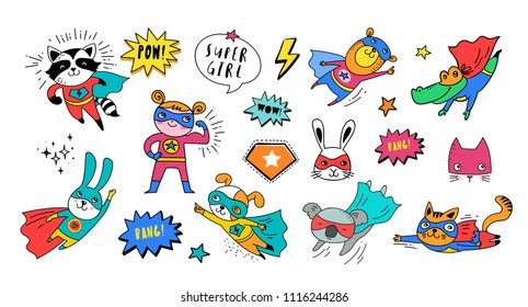 Superhero cute hand drawn animals, cat, dog, panda, bear and crocodile vector characters