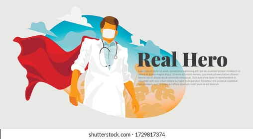 Superhero doctor nurse care worc medicine covid-19 coronavirus pandemic vector illustration.
