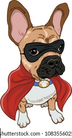 Superhero dog ,french bulldog with black mask and red cape.