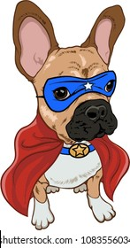 Superhero dog ,french bulldog with blue mask and red cape.