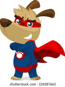 Superhero dog in super hero costume with pow powers smiling proudly vector illustration.