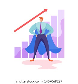 Superhero entrepreneurs stand on the diagram. The best employee of the month. Top manager or boss. Favorable, Effective, Business Cooperation, Flat Vector Banner Template. Entrepreneur. Superhero Suit
