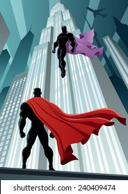 Superhero facing supervillain. No transparency used. Basic (linear) gradients. A4 proportions.