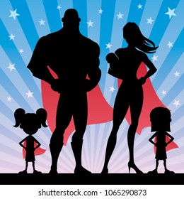 Superhero family of 5, with mom, dad, 2 girls and baby
