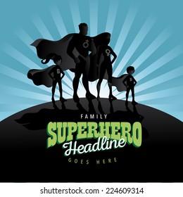 Superhero Family burst background Jpg or EPS 10 vector