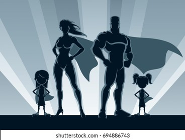 Superhero family posing in front of lights.