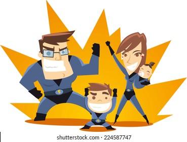 Superhero Family team ready to work vector illustration.