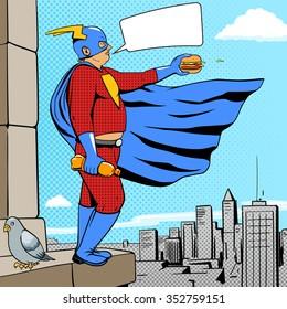Superhero fat man with burger cartoon pop art retro style vector illustration. Comic book style imitation