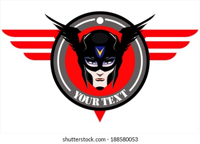 Superhero - Female : Beautiful Female superhero face over red winged circle background.