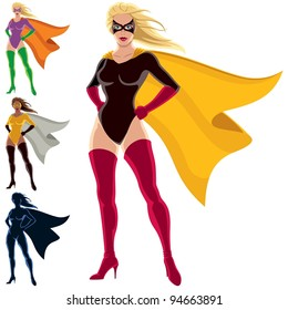 Superhero - Female: Female superhero over white background. She is in 4 different versions, one of them is a silhouette. You can remove the mask from her face in the vector file if you want to.