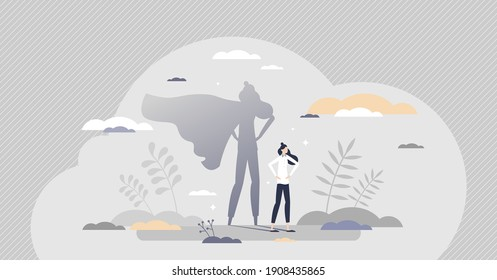 Superhero female as strong and powerful leader or mother tiny person concept. Businesswoman with hero cape in shadow reflection as woman with courage, confidence, power or ambition vector illustration