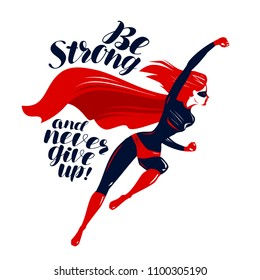 Superhero in flight. Typographic design, lettering vector illustration