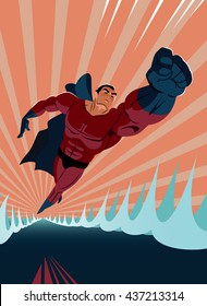 Superhero flying above the water. Strives height. Vector illustration