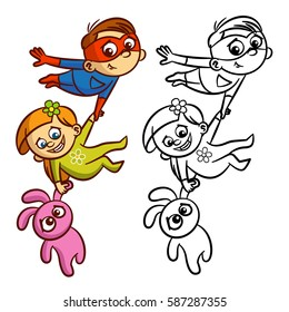 superhero flying boy rescuer coloring 260nw