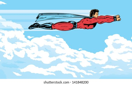 Superhero flying in the clouds