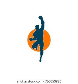 Superhero Flying Pose Logo Template, Superhero Silhouette Vector