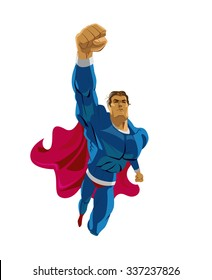 Superhero flying. Strives height. Isolated background. Vector illustration