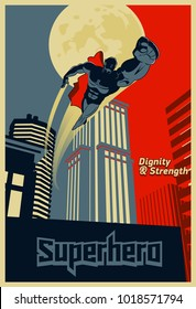 Superhero flying through the night city. Blue and red graphic poster. Vector illustration