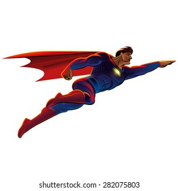 Superhero flying. Vector illustration. Isolated background