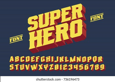 SuperHero font. 3D vintage alphabet letters. Vector retro illustration