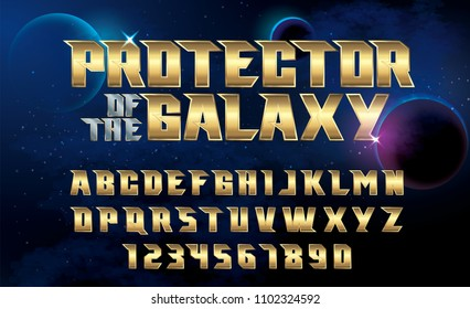 SuperHero font. Metallic effect letters and numbers on an universe background.