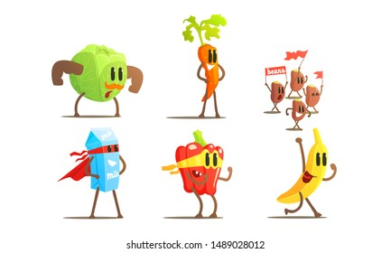 Superhero Food In Masks And Capes Set, Funny Humanized Fruits, Vegetables and Milk Characters In Costumes Vector Illustration