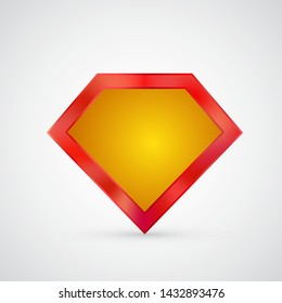 Superhero frame icon isolated on white for logos and symbols. Classical supernatural powers badge or shield for web-sites, banners, ads, posters. Quality or loyalty guarantee, responsibility mindset.