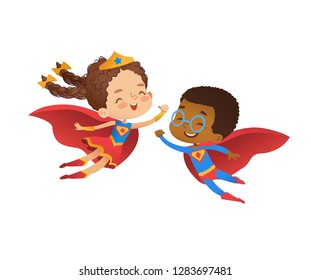 Superhero Friend Character Costume Illustration. Cheerful African Boy and European Caucasian Girl wear Funny Costume for Kindergarten Party. Happy Baby Isolated Set Flat Cartoon Vector Design.