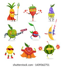 Superhero Fruits In Masks And Capes Set Of Cute Childish Cartoon Humanized Characters In Costumes in different poses.